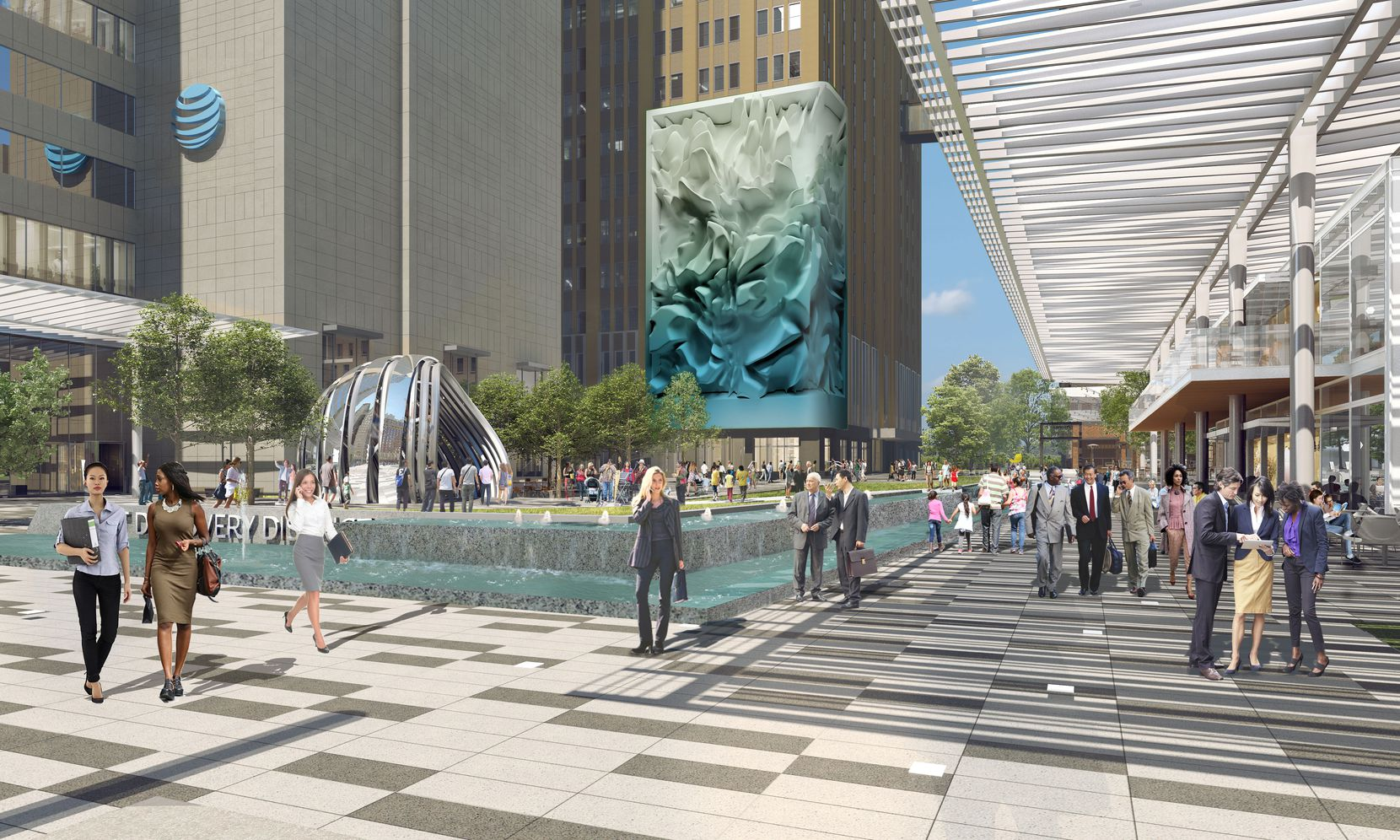 AT&T's downtown Dallas Discovery District, shown in a rendering, starts opening later this year.