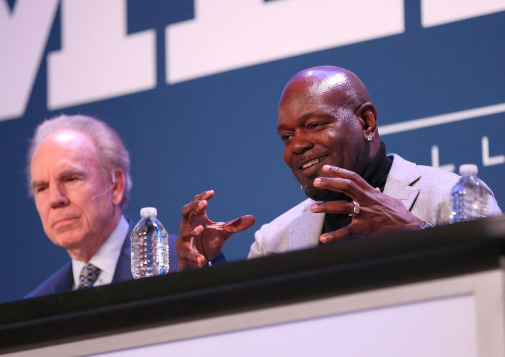 Former Dallas Cowboys running back Emmitt Smith speaks alongside former Dallas Cowboys quarterback Roger Staubach during a panel discussion at the Dallas Regional Chamber's annual luncheon at the Hilton Anatole in Dallas on Thursday, Jan. 18, 2018. (Rose Baca/The Dallas Morning News)