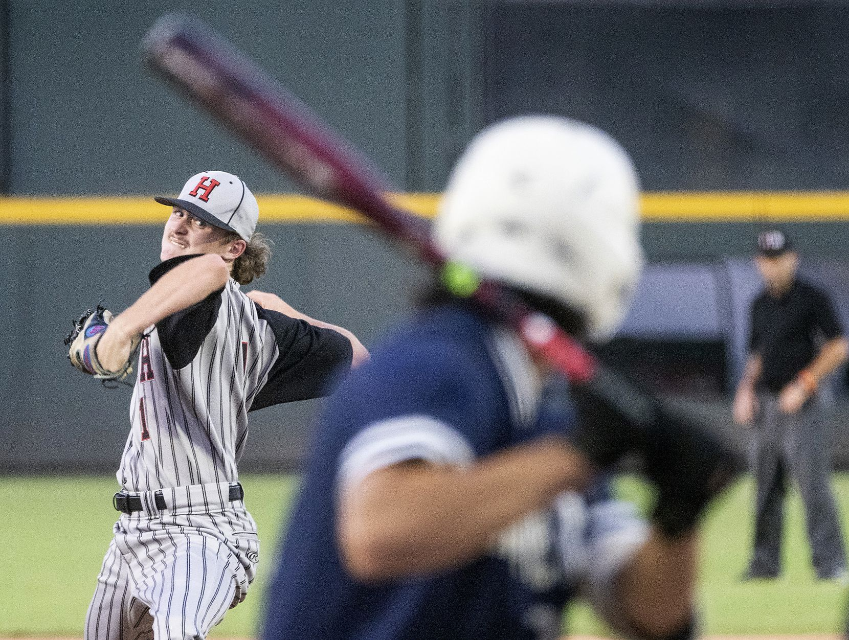 Rockwell-Heath, Baylor Baumann, (1), pitches against Comal Smithson Valley David DeHoyos, (22), during the first inning of the 2021 UIL 6A state baseball semifinals held, Friday, June 11, 2021, in Round Rock, Texas.    (Rodolfo Gonzalez/Special Contributor)