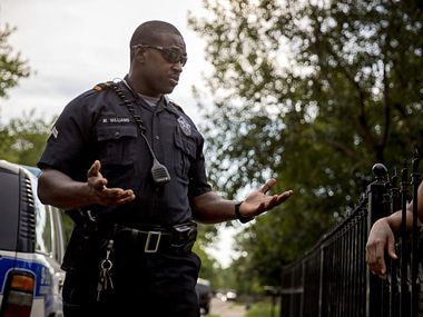 Dallas police Senior Cpl. Melvin Williams was placed on administrative leave after video circulated on social media showing him punching a man in the face several times during a brawl in Deep Ellum.