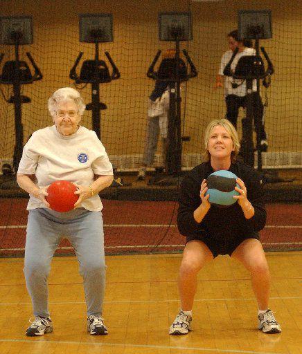 Personal trainer Debi Wilkins works with Eloise Cullum in 2006.