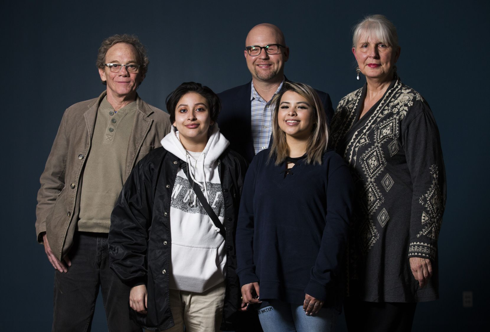 From left: 29 Pieces artist assistant Joe Stokes, 29 Pieces artist assistant Dolores Mendoza, UNT Dallas Dean of the School of Education John Gasko, 29 Pieces artist assistant Hope Trevino, and 29 Pieces Executive Director and founder Karen Blessen.