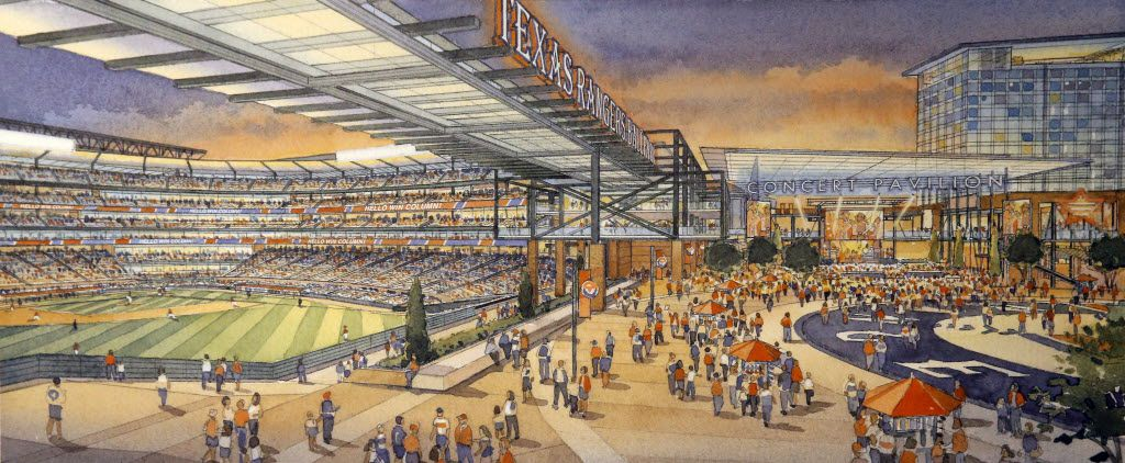 An artist rendering shows the outfield plaza of a new retractable roof ballpark (left) that flows into a new entertainment venue (right).