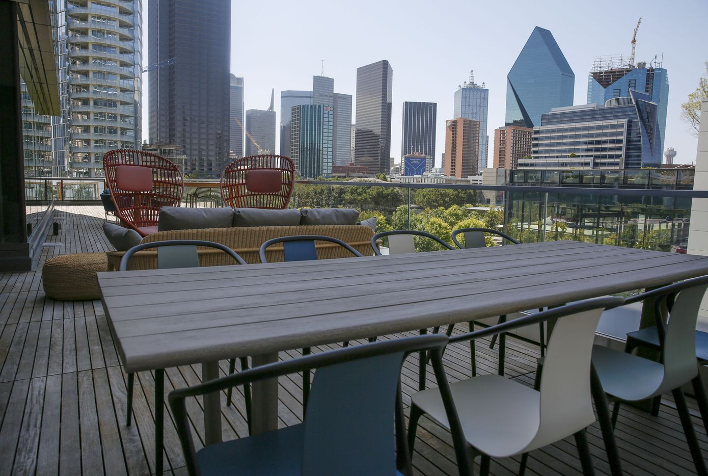 Hana's outdoor coworking space with a view of downtown Dallas.