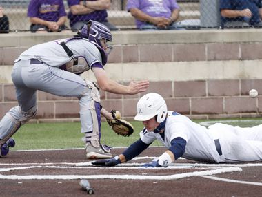 Jesuit's David Long slides safely home to score a run ahead of Richardson catcher Marcus Peters during a district 7-6A game at Jesuit College Preparatory in Dallas, Saturday, April 24, 2021.