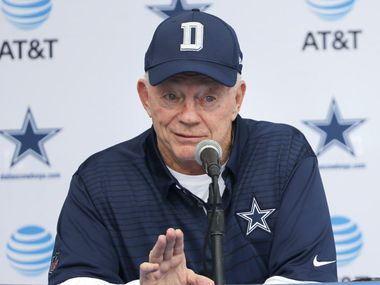 Dallas Cowboys owner and general manager Jerry Jones answers questions during a press conference in Oxnard, California on Sunday, July 23, 2017. Dallas Cowboys training camp begins on Monday. (Vernon Bryant/The Dallas Morning News)