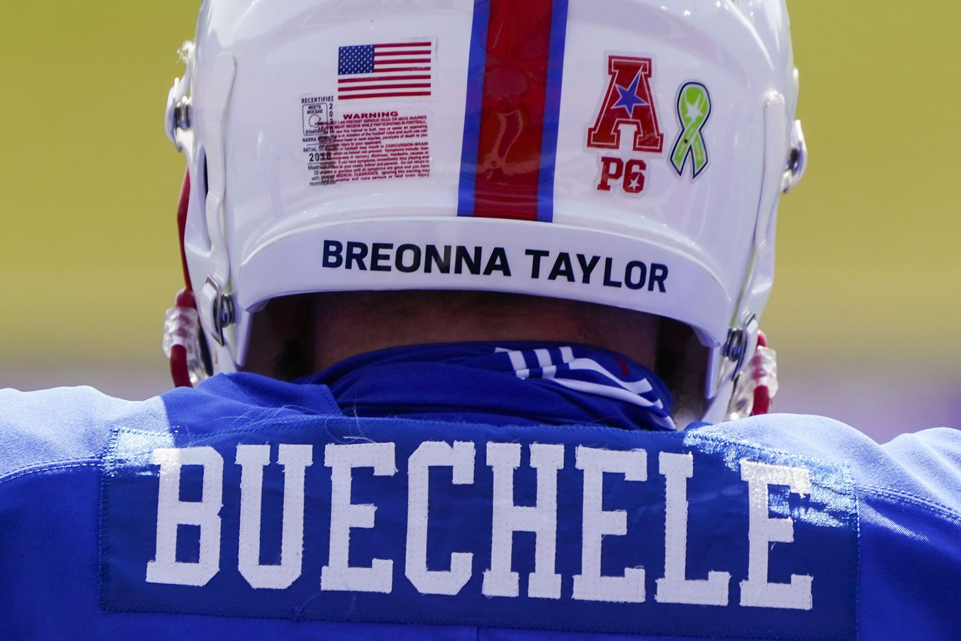 SMU quarterback Shane Buechele wears the name of Breonna Taylor on his helmet before an NCAA football game against Memphis at Ford Stadium on Saturday, Oct. 3, 2020, in Dallas.