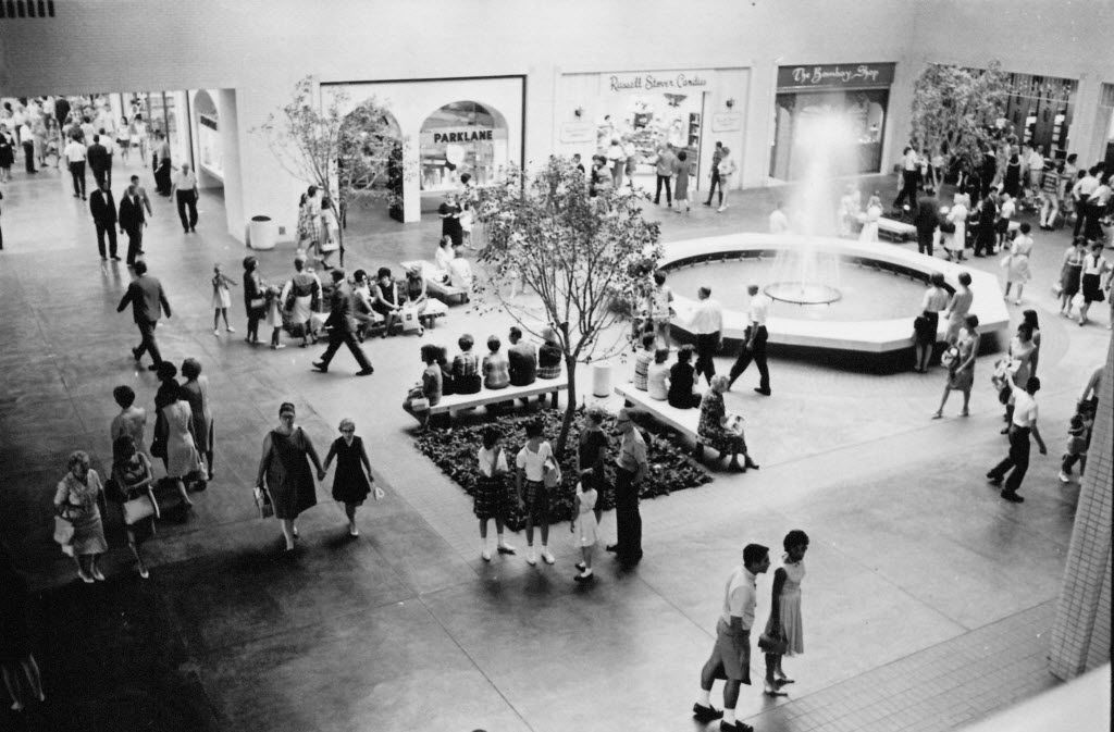 View of the fountain court in NorthPark Center in the 1960s