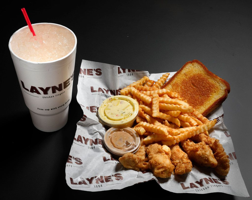 Layne's homemade lemonade with Layne's Original, five chicken fingers, secret sauce, crinkle-cut-fries, Texas toast, and potato salad servered at Layne's Kickin Chicken, in Allen, Texas, Friday, February 2, 2018. (David Woo/The Dallas Morning News)