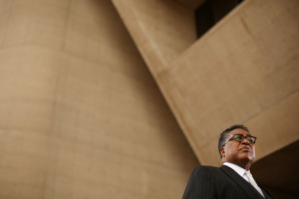 Dwaine Caraway in front of Dallas City Hall