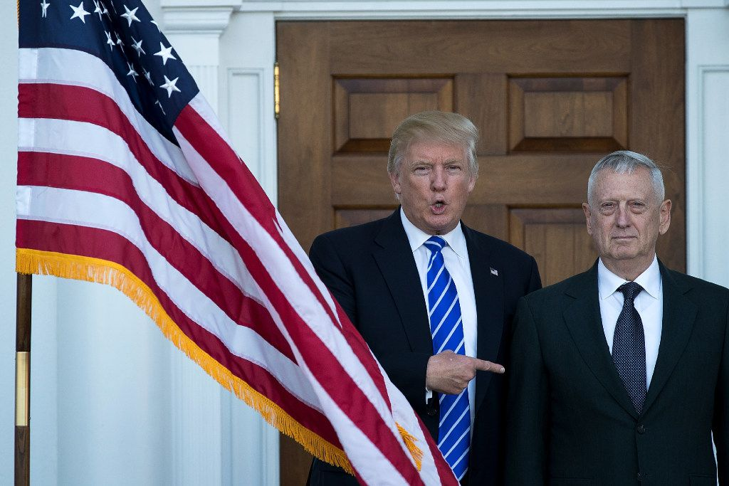 BEDMINSTER TOWNSHIP, NJ - NOVEMBER 19:  (L to R) President-elect Donald Trump welcomes retired United States Marine Corps general James Mattis as they pose for a photo before their meeting at Trump International Golf Club, November 19, 2016 in Bedminster Township, New Jersey. Trump and his transition team are in the process of filling cabinet and other high level positions for the new administration.  (Photo by Drew Angerer/Getty Images)