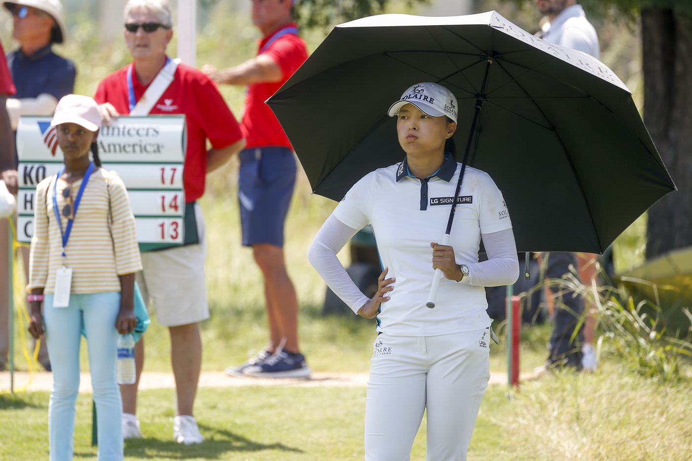 Professional golfer Jin Young Ko takes a breath as her group finishes on the No. 4 green during the final round of the LPGA VOA Classic on Sunday, July 4, 2021, in The Colony, Texas. (Elias Valverde II/The Dallas Morning News)