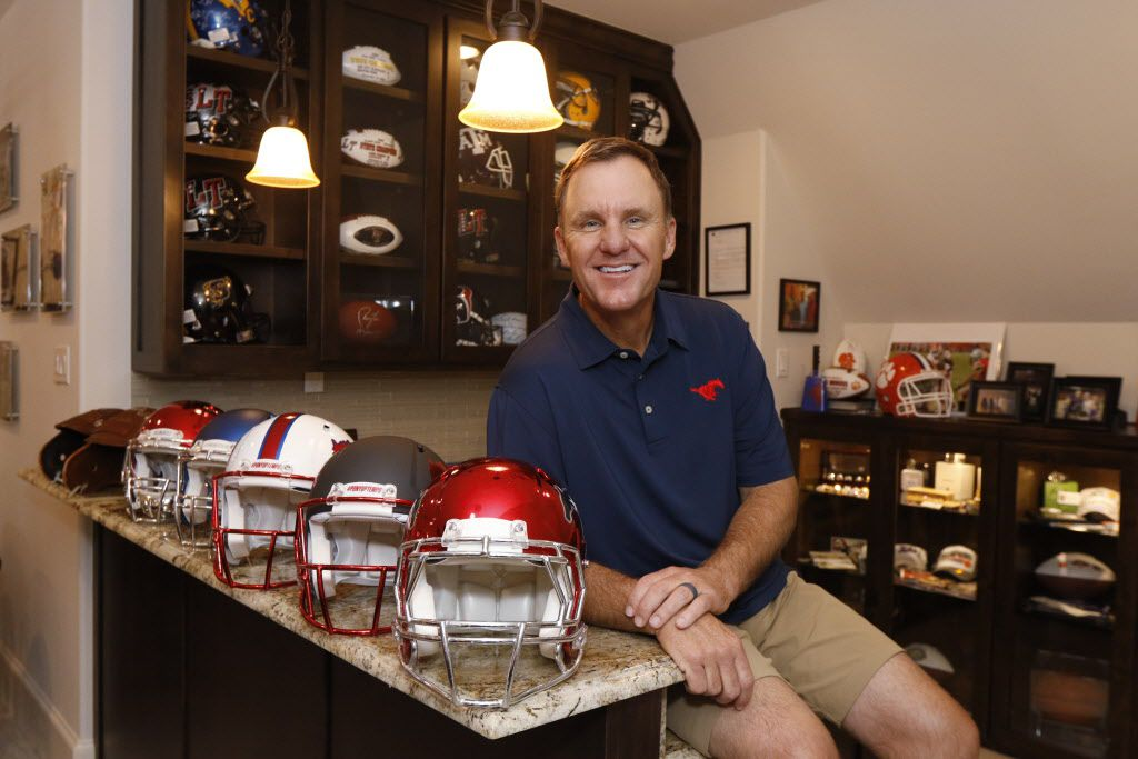 SMU head football coach Chad Morris poses for a portrait in his recruitment room in his home in Highland Park, Texas on Friday, June 23, 2017. (David Woo/ The Dallas Morning News) sportsmagsmuphoto