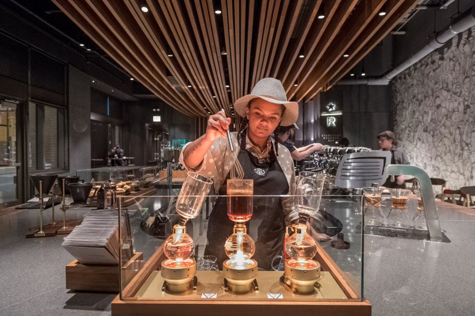 Starbucks Reserve bars are designed to interest coffee drinkers who want to be involved in the coffee process.