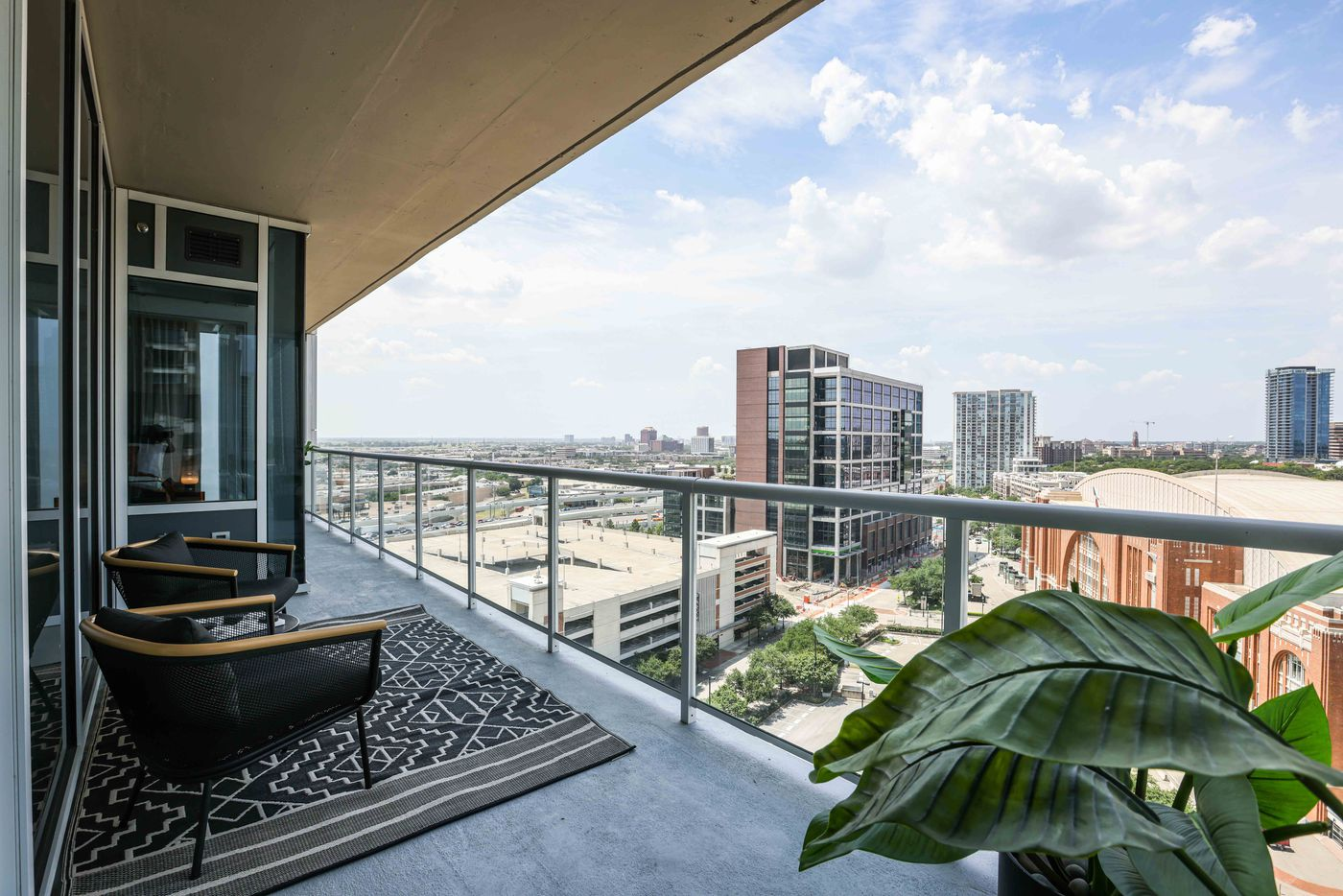 Terrace in a 2 bed, 2 bath apartment at The Victor in Dallas. (Lola Gomez / The Dallas Morning News)