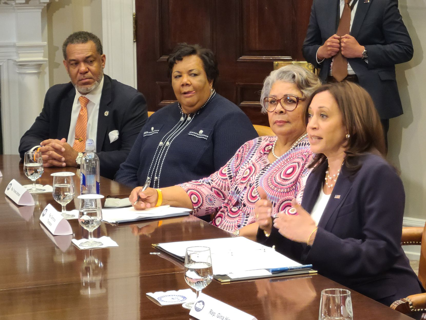Vice President Kamala Harris meets with Texas state lawmakers at the White House on June 16, 2021, to promote federal voting rights legislation.