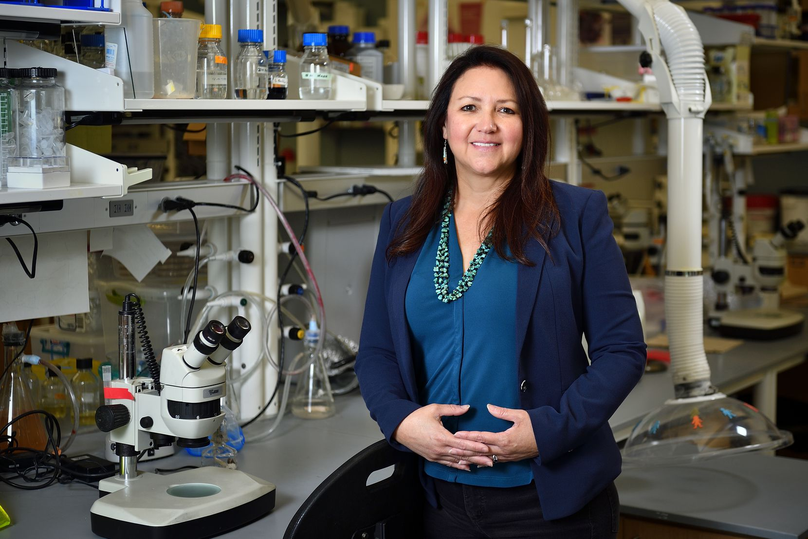 Dr. Pamela Padilla, dean for University of North Texas' College of Science, photographed in her lab in Life Sciences B on the UNT campus in Denton, Texas on September 17, 2020. Photos by Michael Clements.