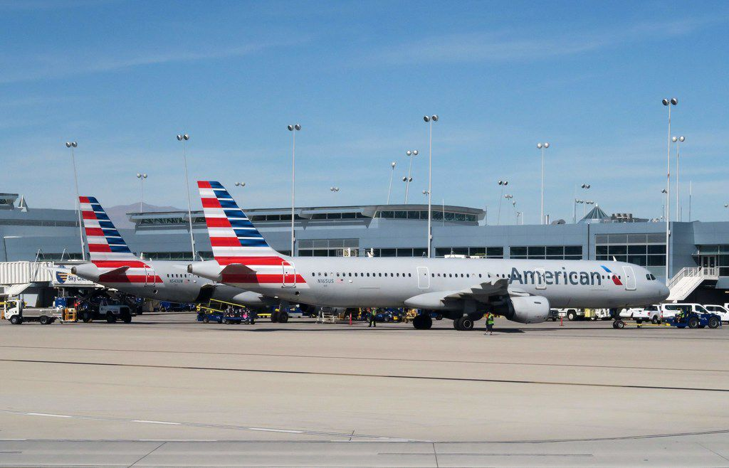 (FILES) In this file photo taken on February 15, 2017 American Airlines planes sit at the gate on the tarmac of McCarran International Airport in Las Vegas, Nevada. American Airlines has ordered 47 Boeing 787 Dreamliners in an order valued at $12 billion at list prices, while cancelling a major order for Airbus A350s.  / AFP PHOTO / RHONA WISERHONA WISE/AFP/Getty Images