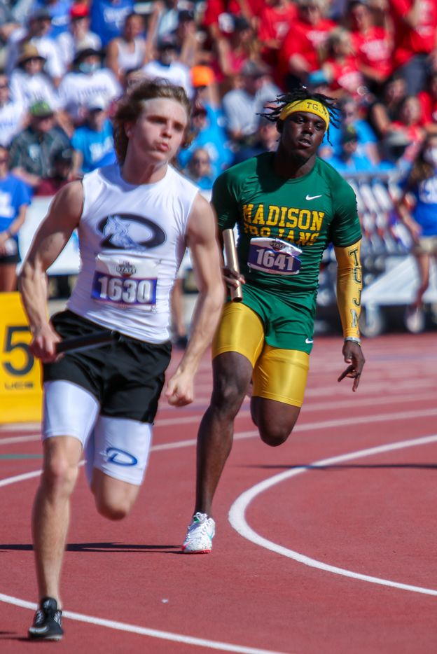 Joseph Gatlin of Dallas Madison competes in the 3A boys 4x100 during the UIL state track meet at the Mike A. Myers Stadium, at the University of Texas on May 6, 2021 in Austin, Texas.