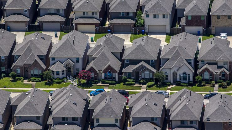 A file photo shows homes in a North Texas neighborhood.