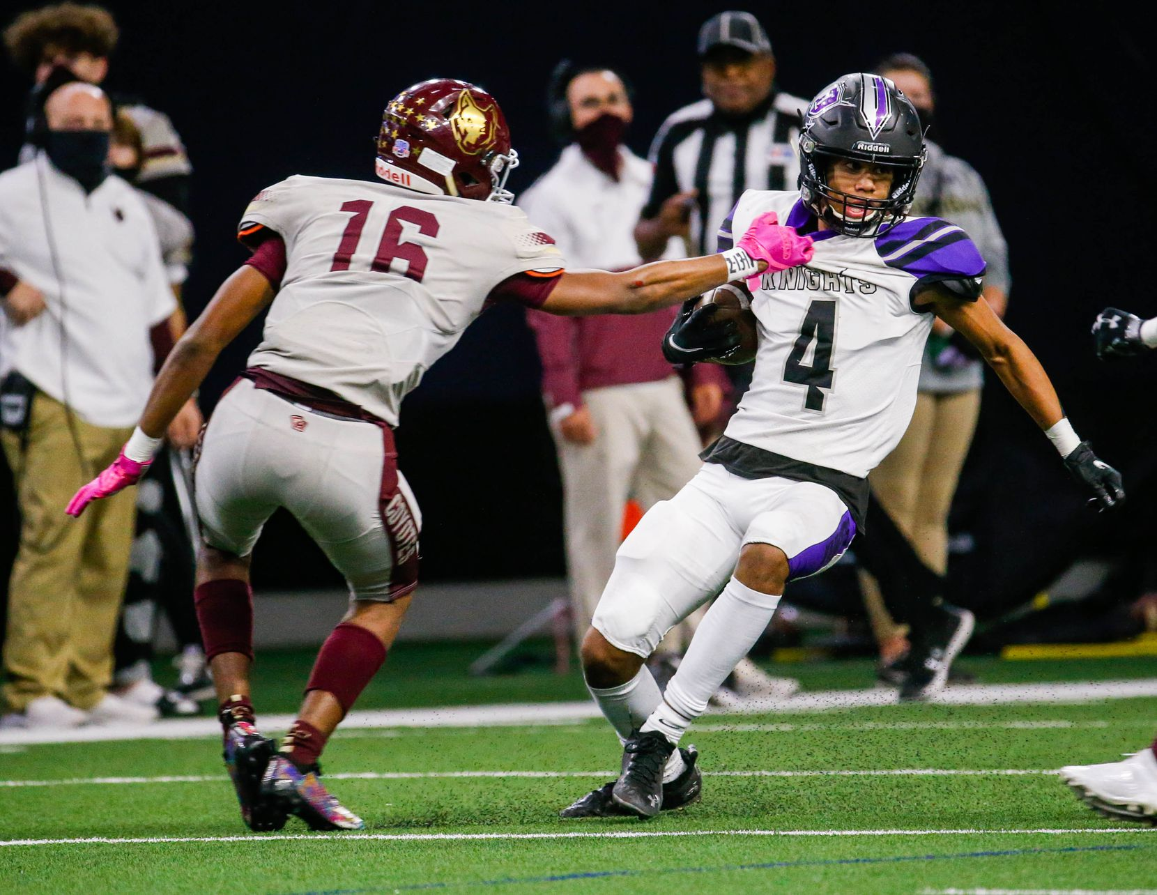 Frisco Independence Jordyn Tyson (4) is grabbed by Frisco Heritage's Lavar Young (26) during the second half of a game at the Ford Center at the Star in Frisco on Thursday, Dec. 3, 2020. (Juan Figueroa/ The Dallas Morning News)