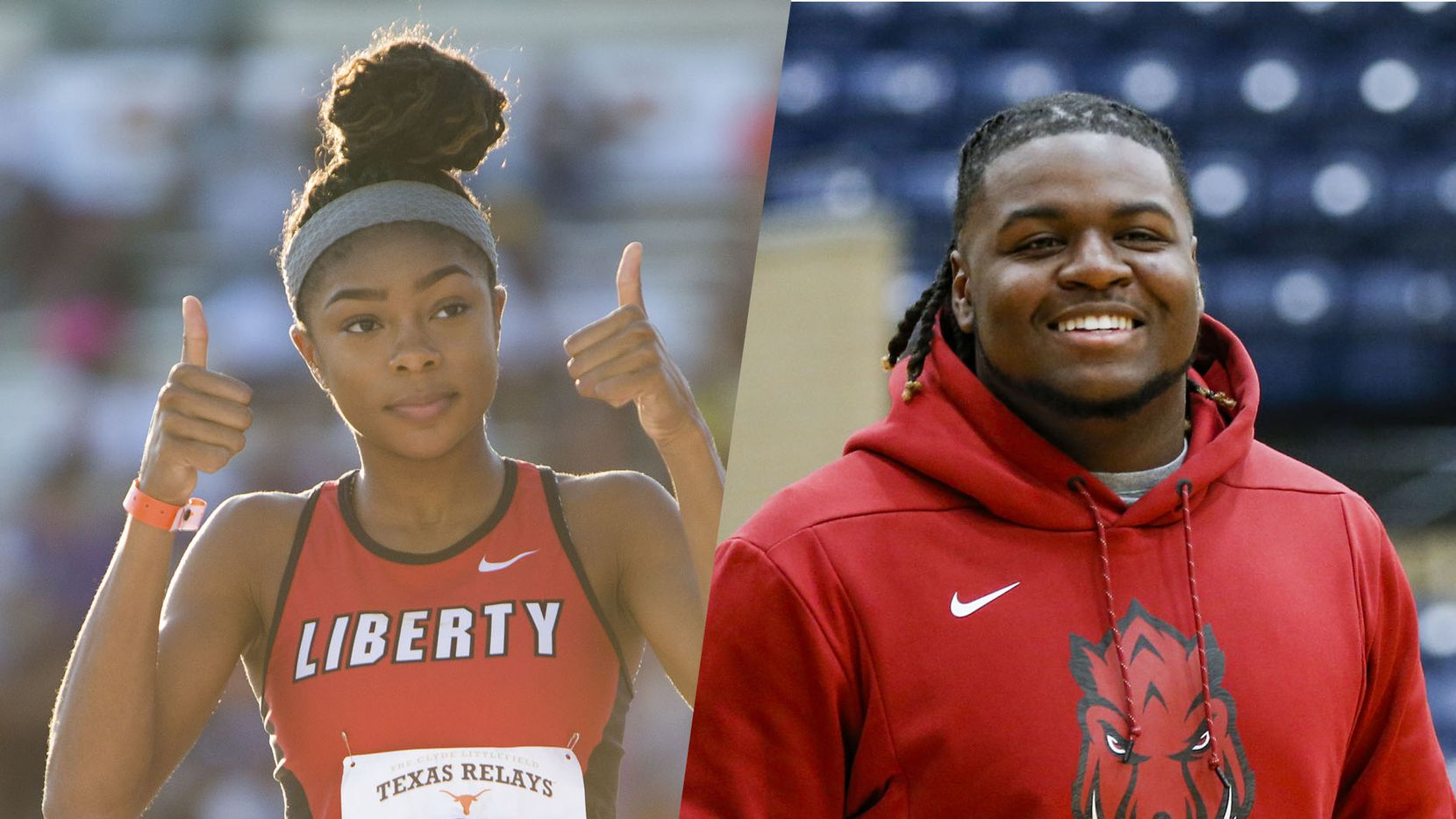 Frisco Liberty's Nissi Kabongo (left) and Mansfield Legacy's Taurean Carter (right).