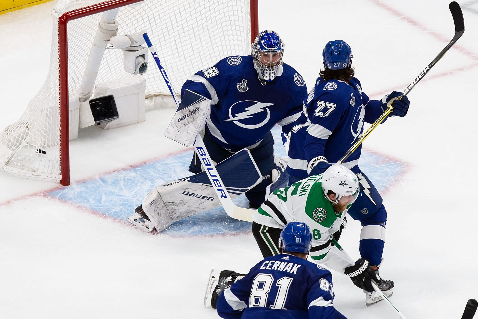 Joe Pavelski (16) of the Dallas Stars scores against goaltender Andrei Vasilevskiy (88) of the Tampa Bay Lightning during Game Two of the Stanley Cup Final at Rogers Place in Edmonton, Alberta, Canada on Monday, September 21, 2020. (Codie McLachlan/Special Contributor)