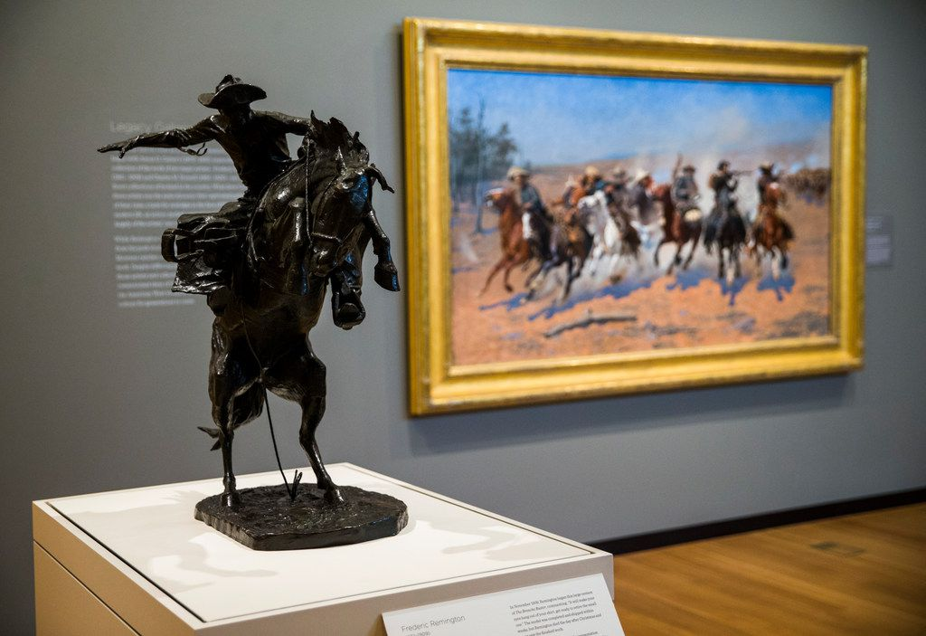Works by Frederic Remington and Charles M. Russell are on display on the second floor of the Amon Carter Museum of American Art.