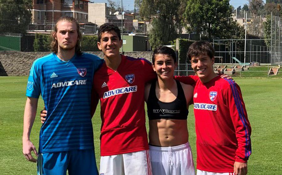 Seth Wilson, Nico Carrera, David Rodriguez, and Diego Letayf with the FC Dallas U17s during a 2019 tournament in Mexico.