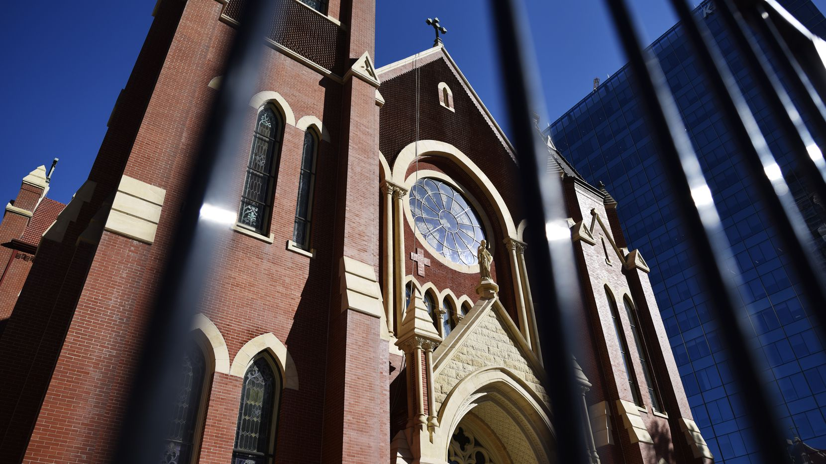 The Cathedral Shrine of the Virgin of Guadalupe shown behind a guard rail in downtown Dallas, Sunday May 19, 2019. Ben Torres/Special Contributor