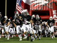 The Argyle Eagles enter the field to face Terrell in a District 7-4A high school football game played at Eagle Stadium on Friday October 22, 2021, in Argyle. (Steve Nurenberg/Special Contributor)