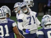 Cowboys' offensive lineman La'el Collins #71 during practice at the Ford Center in Frisco on Wednesday, October 27, 2021. This is Collins' first practice after his suspension.