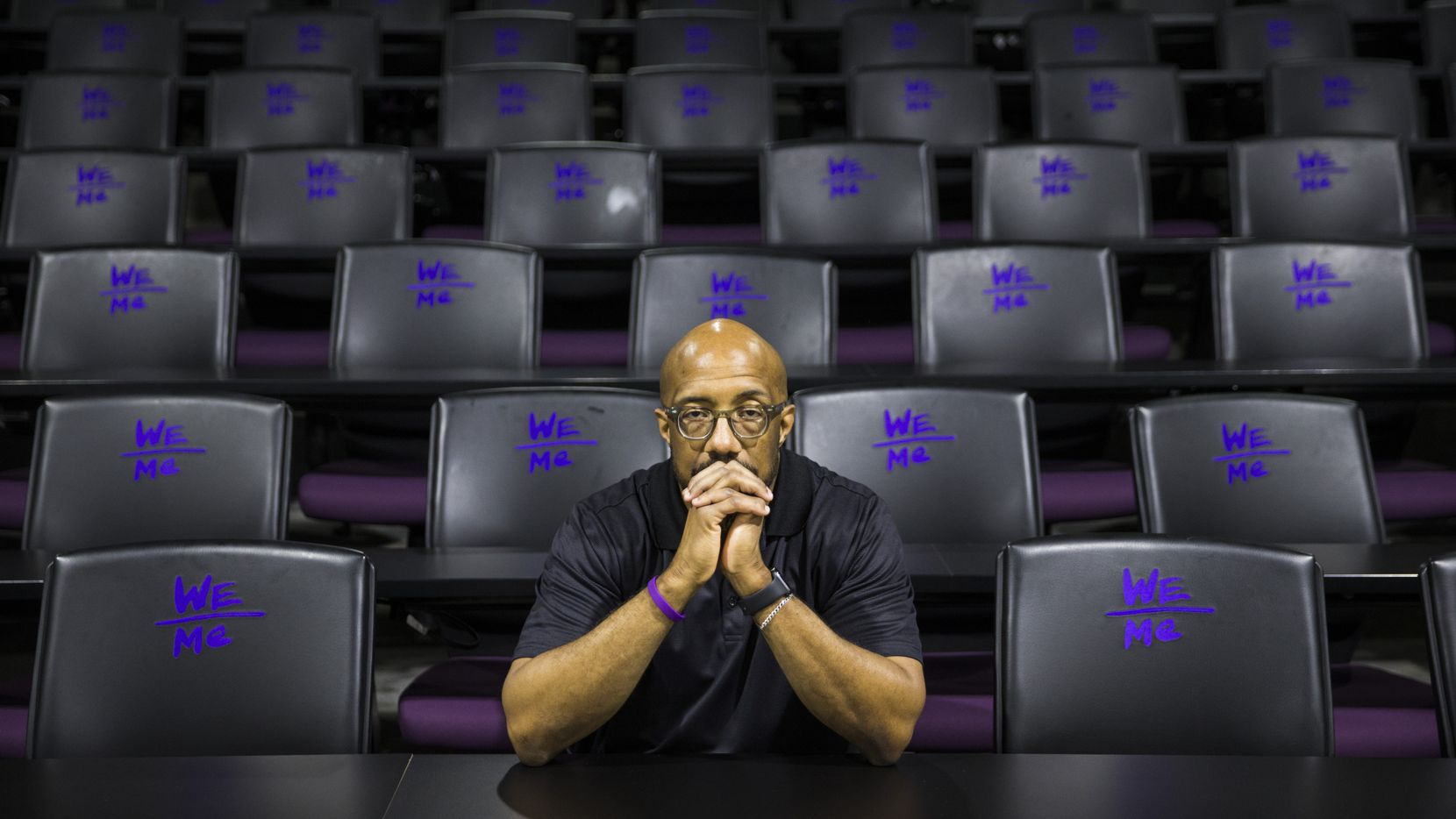 """Michael Sorrell, president of Paul Quinn College and photographed in one of the school's empty lecture halls, understands why so many of his students are devastated that classes are online, housing is shut down and commencement is postponed. """"It all comes back to the trauma that's permeated many of their lives for so many years,"""" he said."""