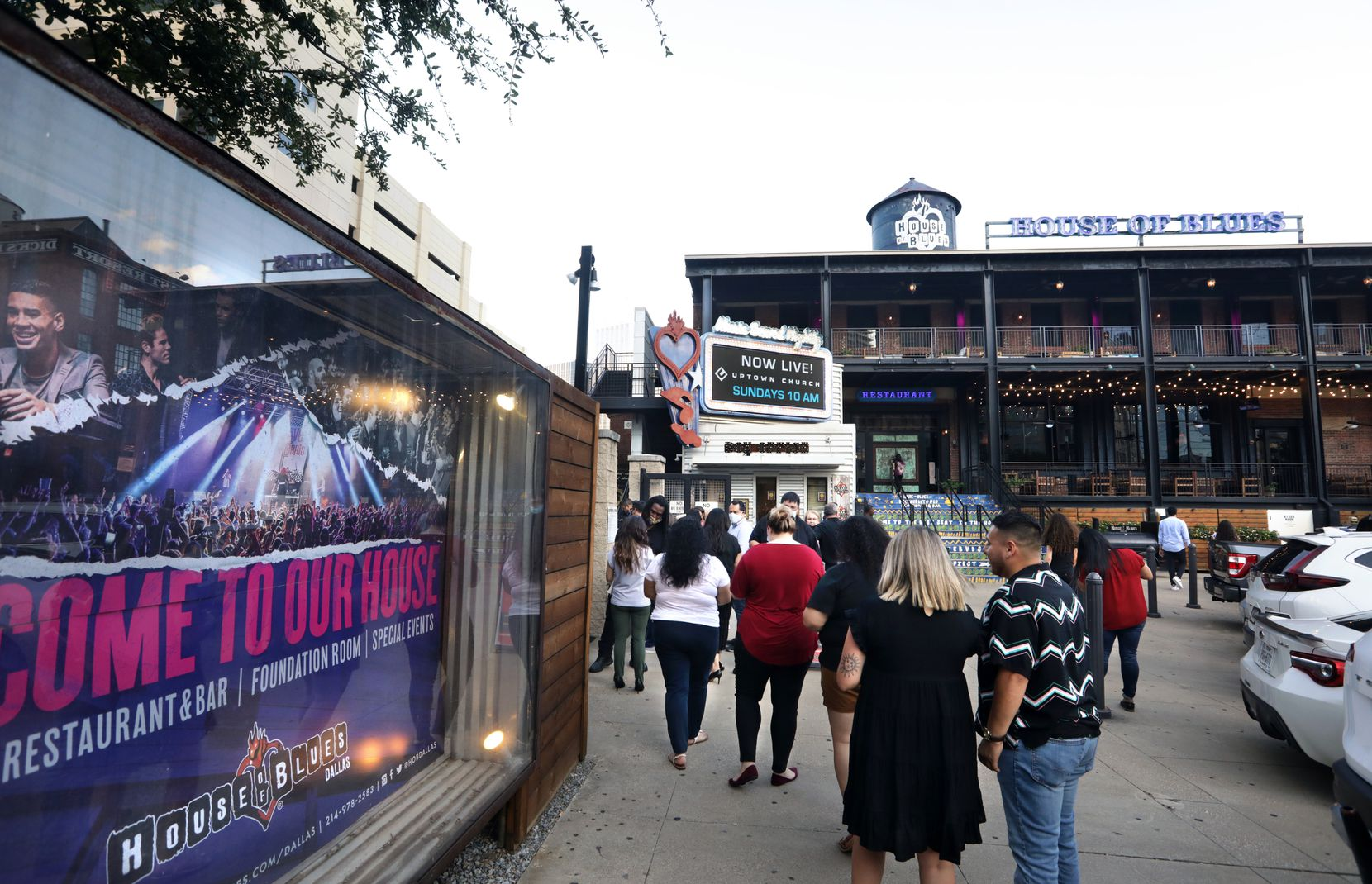 Concert attendees line up outside of the House of Blues in Dallas, a Live Nation venue, on Saturday.