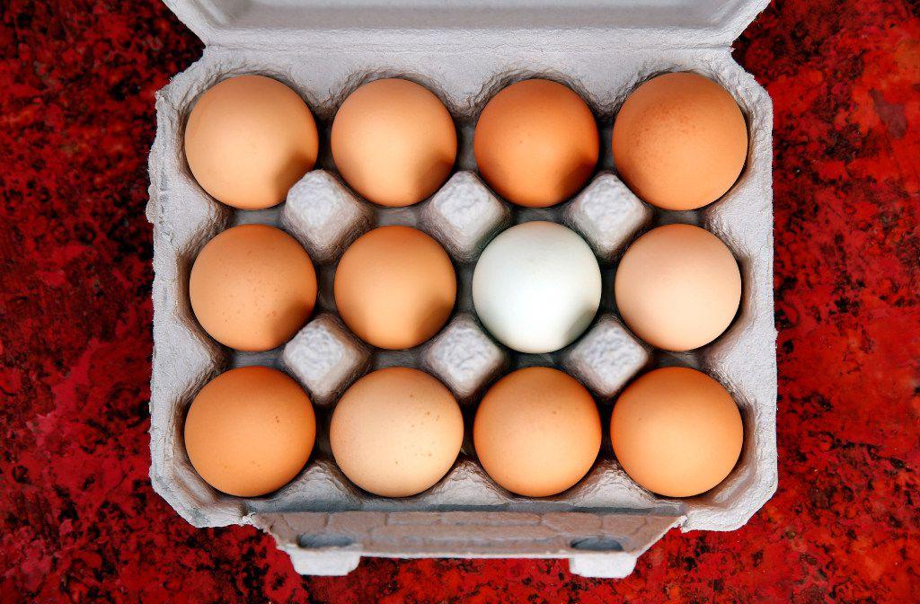 A fresh dozen eggs from the Bois d'Arc farm in Allens Chapel.