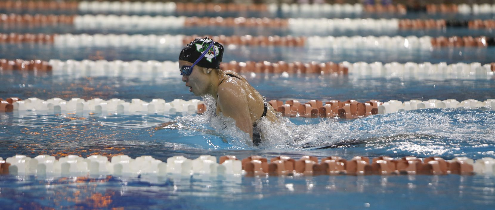 Southlake Carroll's Corbyn Cormack competes in the Girls 200 Yard IM event. Cormack won the event with a time of 2:00.39.The UIL Class 6A state swimming and diving finals were held at the University of Texas' Lee and Joe Jamail Texas Swimming Center in Austin on February 15, 2020.