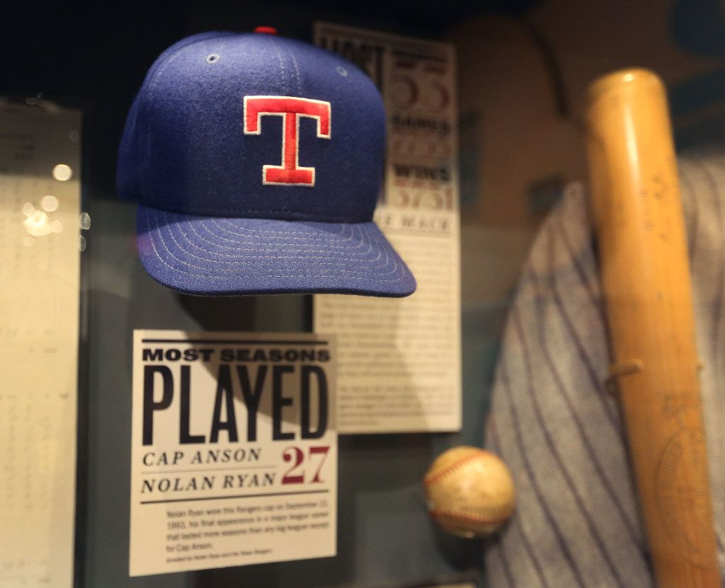 A hat worn by Texas Rangers pitcher Nolan Ryan is displayed at the Baseball Hall of Fame in Cooperstown, NY, photographed on Tuesday, May 30, 2017. (Louis DeLuca/The Dallas Morning News)