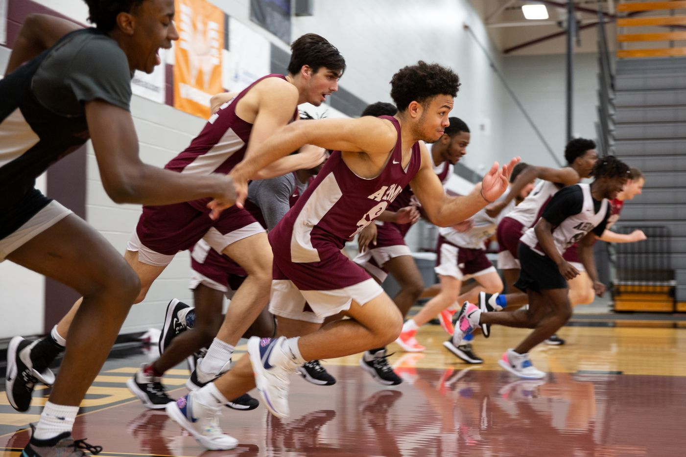 Wylie High School guard Kobe Wiggins (2) and the rest of the team sprint up and down the court during practice at Wylie High School on March 11, 2020 in Wylie, Texas. (Kara Dry/Special Contributor)