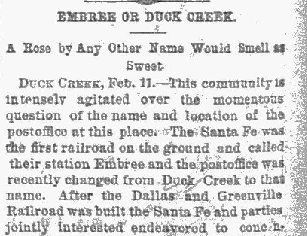 The Dallas Morning News snip published on Febr. 12, 1887
