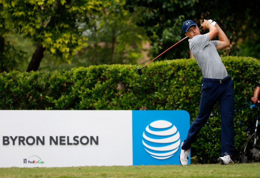 Jordan Spieth watches his tee shot at the first hole during the second round of the AT&T Byron Nelson PGA golf tournament at the TPC Four Seasons Resort in Irving, Texas, Friday, May 19, 2017. (Jae S. Lee/The Dallas Morning News)