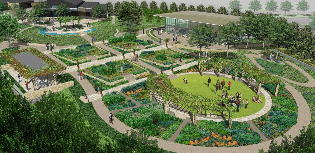 This artist's rendering shows A Tasteful Place, an $8 million farm-to-table garden on the southern part of the Dallas Arboretum and Botanical Gardens.