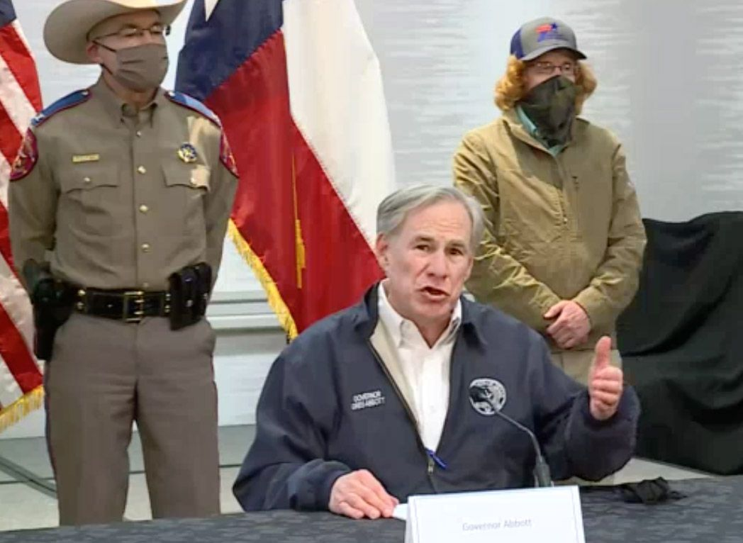 Texas Governor Greg Abbott speaks during a press conference on Wednesday, February 17, 2021 in Austin.