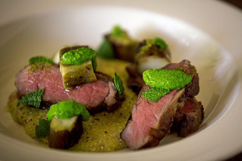 Lucia's lamb loin with polenta, charred eggplant and green-garlic harissa. Five and a half years after it opened in Dallas' Bishop Arts district, David and Jennifer Uygur's Italian restaurant still thrills.