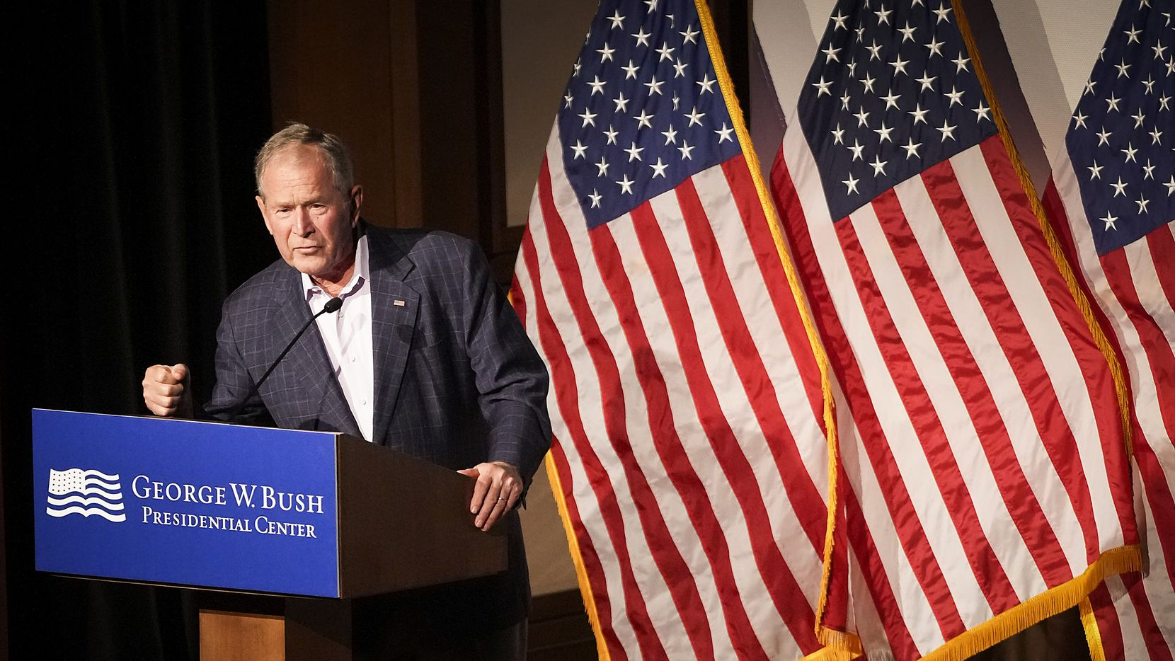 """Former President George W. Bush deliver's remarks before a screening of the new documentary """"9/11: Inside the President's War Room"""" at the George W. Bush Presidential Center on Saturday, Sept. 11, 2021."""