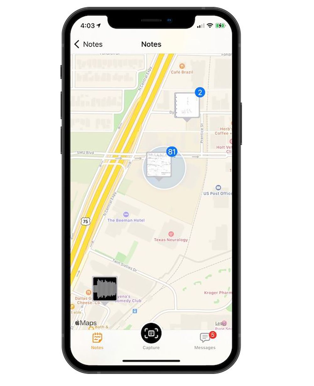 The Thinkers app can show the location where your notes were captured.