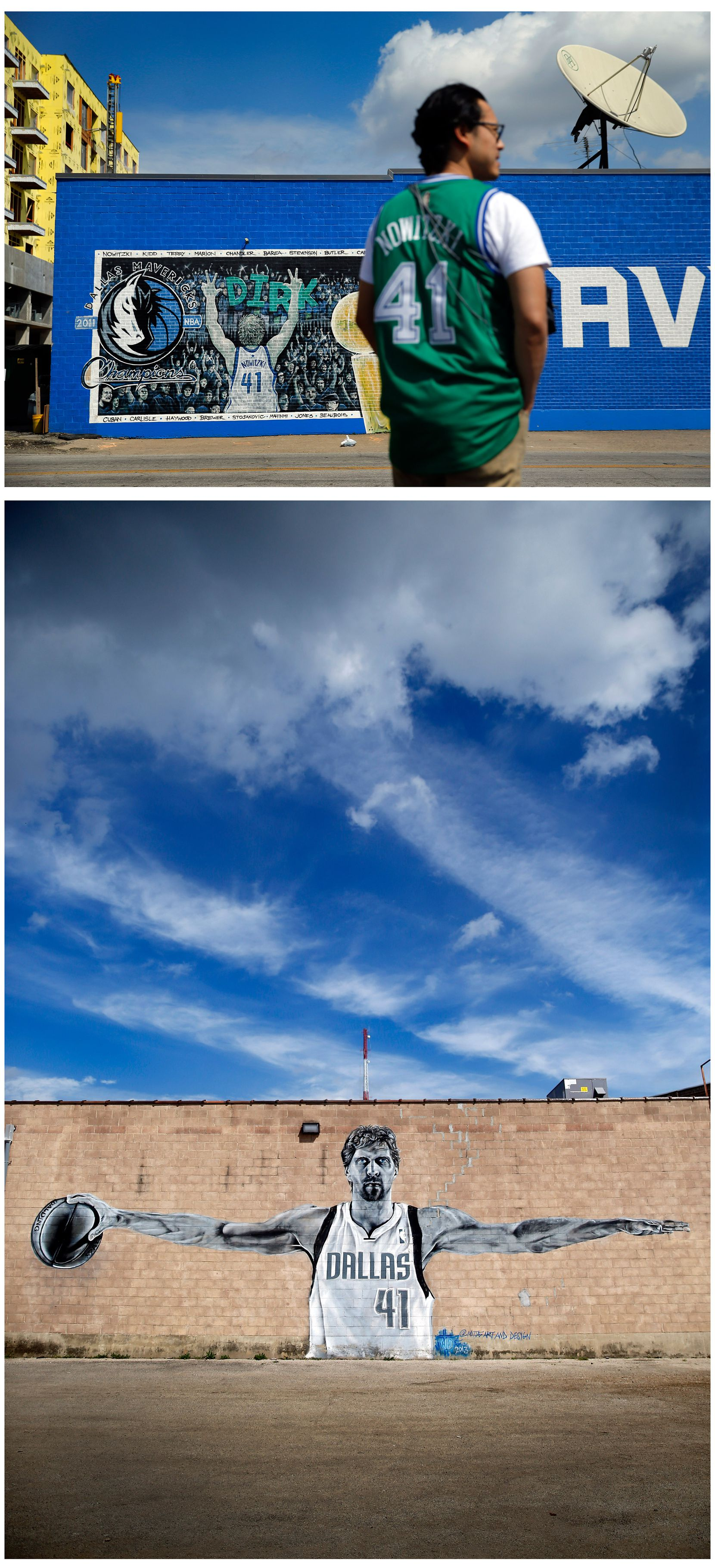 Top: Chuckarin Chuskul, a participant in the filming of a tribute video to Dallas Mavericks forward Dirk Nowitzki, waits his turn in front of a mural of the All-Star in Deep Ellum in Dallas on March 24, 2019.  Bottom: A large black and white mural of the Dallas Mavericks All-Star forward is displayed on the side of a Deep Ellum building.