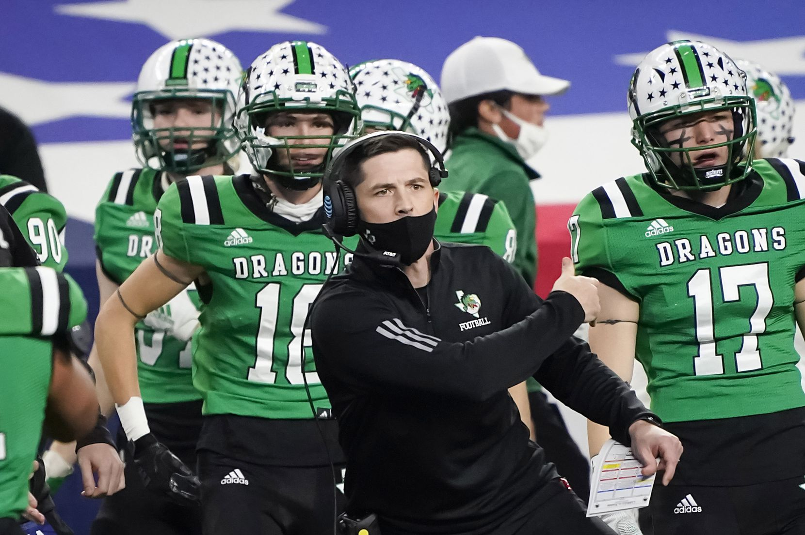 Southlake Carroll head coach Riley Dodge celebrates a touchdown during the first quarter of the Class 6A Division I state football championship game against Austin Westlake at AT&T Stadium on Saturday, Jan. 16, 2021, in Arlington, Texas.