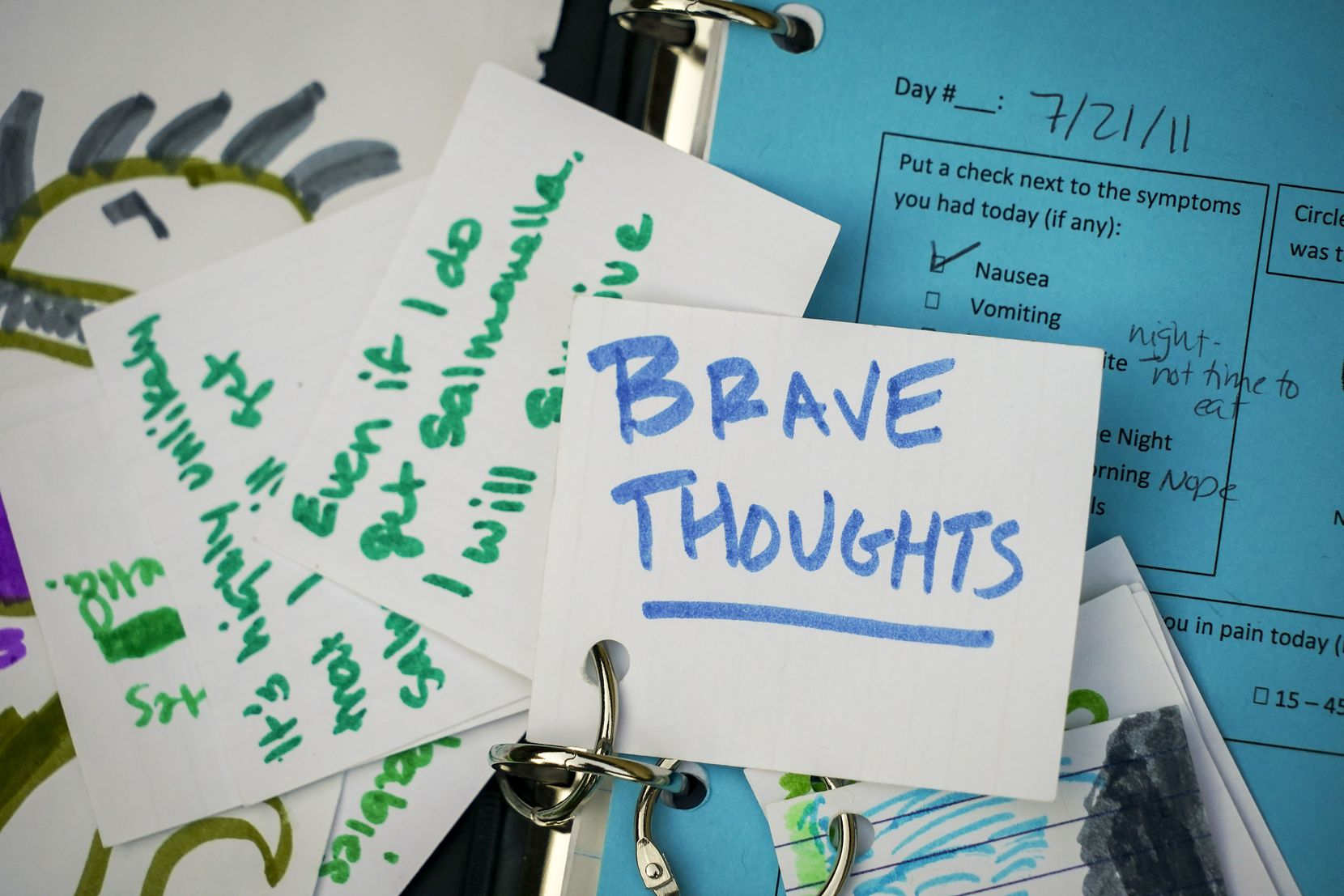Cards that Jake Smith created in his childhood remind him to ignore his worries and focus on brave thoughts.