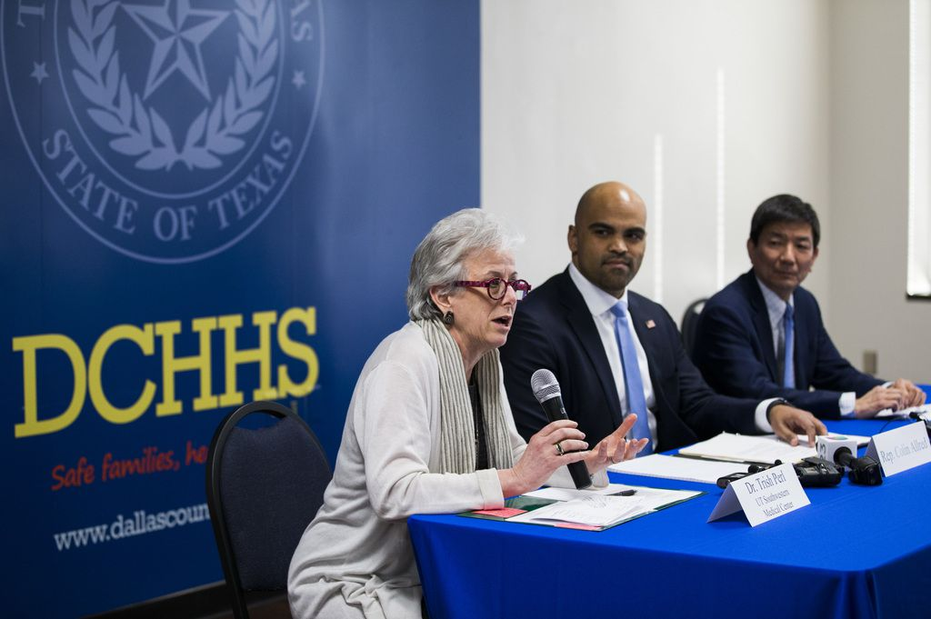 Congressman Colin Allred (TX-32, center) joins Dr. Trish M. Perl (left), the Chief of the Division of Infectious Diseases at UT Southwestern Medical Center, and Dr. Philip Huang, the Director of Dallas County Health and Human Services, discuss how Dallas County is handling the new coronavirus on Friday, March 6, 2020 at the Dallas County Health and Human Services Building in Dallas. The talk was moderated by Texas State Senator Nathan Johnson (SD-16). (Ashley Landis/The Dallas Morning News)