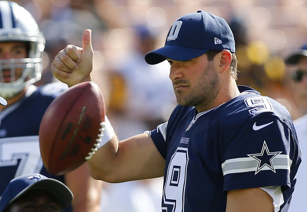 Dallas Cowboys quarterback Tony Romo (9) didn't play against the Los Angeles Rams as the teams warm up before their first preseason game at the Memorial Coliseum in Los Angeles, California, Saturday, August 13, 2016. (Tom Fox/The Dallas Morning News)